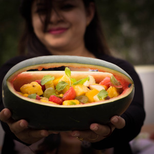 Fruit Chaat In A Watermelon Basket