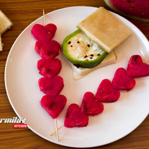 Capsicum Egg Sandwich & Watermelon Skewers